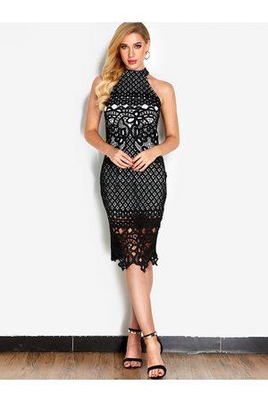 YOINS Lace Cold Shoulder Slit Fashion Midi Dress