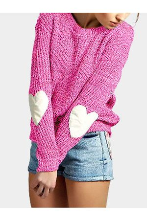 YOINS Rose Round Neck Love Patchwork Sweater