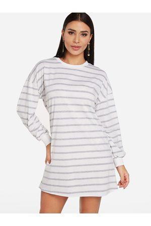 YOINS Stripe Round Neck Long Sleeves T-shirt Dress