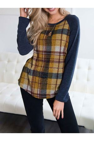YOINS Check Round Neck Long Sleeves Colorblock Tee