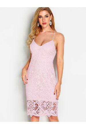 YOINS V neck Backless Lace Sexy Midi Dress