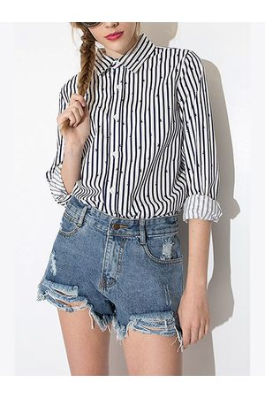 YOINS Navy Blue and White Stripe Shirt with Star Print