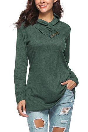 YOINS Army Button Design Plain Drape Sagging Long Sleeves T-shirts