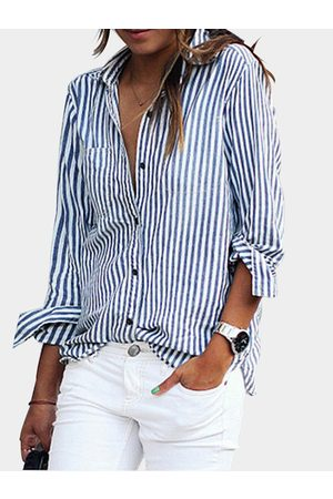 YOINS Blue Casual Striped Button-Down Shirt