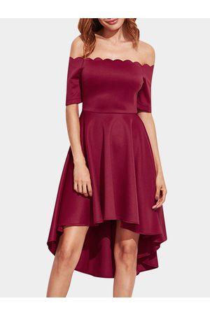 YOINS Off Shoulder Irregular Hem High Waist Midi Party Dresses