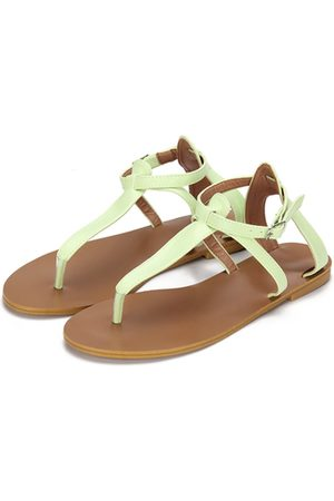 YOINS Light Green Leather Look T-bar Design Flat Sandals With Adjustable Strap
