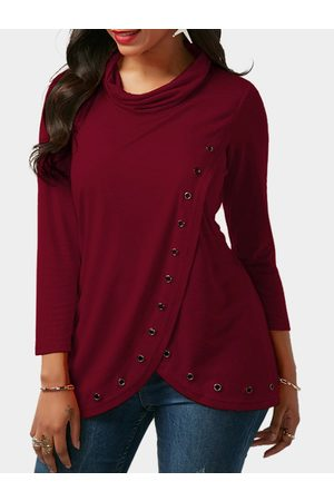 YOINS Slit Design Roll Neck Long Sleeves T-shirt With Eyelet
