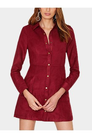 YOINS Suede Button Up Shirt Dress