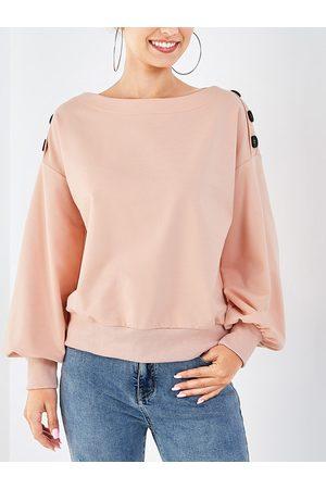 YOINS Button Design Lantern Sleeves Sweatshirt