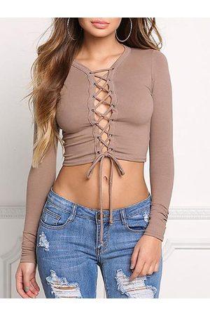 YOINS Khaki Lace-up Design Long Sleeves Cropped Tee