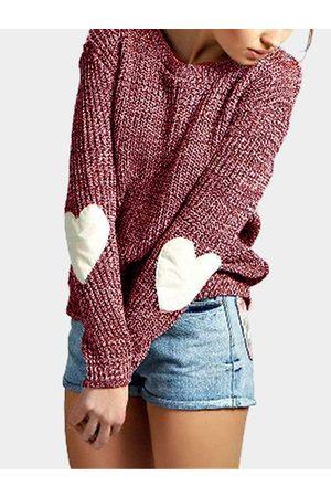 YOINS Round Neck Love Patchwork Sweater