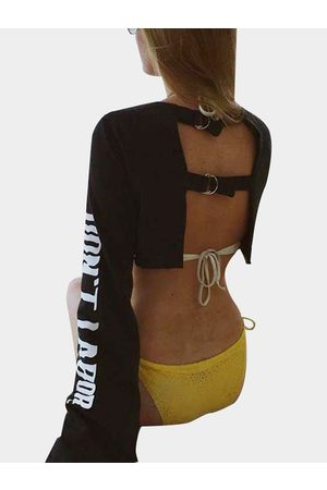 YOINS Active Round Neck Cut Out Letter Pattern Backless Design Crop Sweatshirt