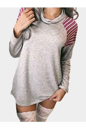 YOINS &White Stripe Pattern Neck Long Sleeves T-shirts