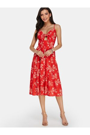 YOINS Floral Calico Print Backless Sexy Dress