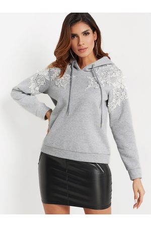 YOINS Lace Insert Plain Pullover Long Sleeves Hooded Design Hoodie