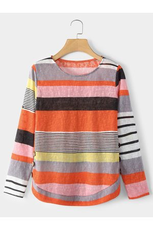 YOINS Rose Stripe Round Neck Long Sleeves T-shirt