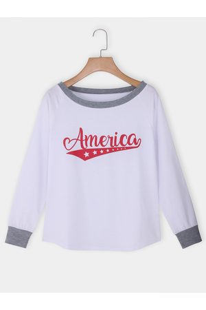 YOINS Letter Round Neck Long Sleeves Tee