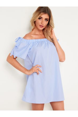 YOINS Stripe Off Shoulder Fashion Short Dress