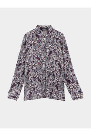 YOINS Point Collar Long Sleeve Vintage Print Shirt