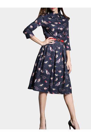 YOINS Royal Blue Bird Print Shirt Dress with Red Belt