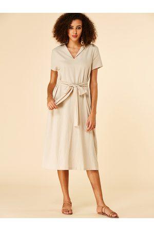 YOINS Apricot Self-tie Design Short Sleeves Dress