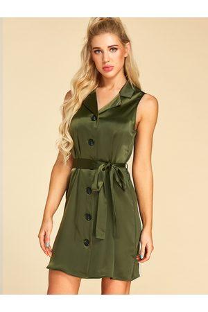 YOINS Button Design Lapel Collar Sleeveless Mini Dress