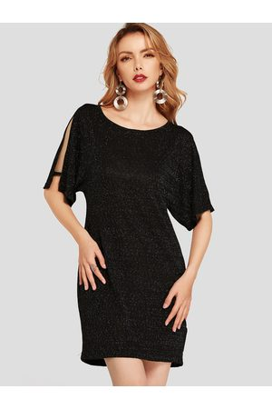 YOINS Cold Shoulder Zip Design Plain Half Sleeves Round Neck Dress