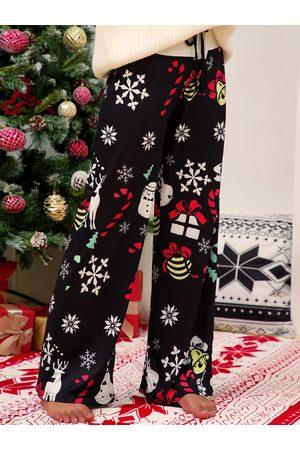YOINS Christmas Graphic Stretch Waistband Wide Leg Pants