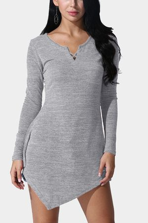 YOINS Casual V-neck Asymmetrical Mini Dress