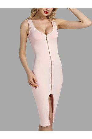 YOINS Light Fashion Round Neck Zip Front Bodycon Cami Dress