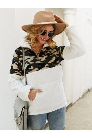YOINS Patch Design Camouflage Teddy Sweatshirt