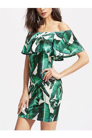 YOINS Random Floral Print Off-the-shoulder Overlay Bodycon Mini Dress