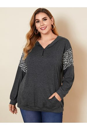 YOINS Plus Size Pullover Patchwork Hooded Design Long Sleeves Sweatshirt