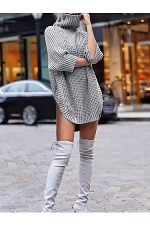 YOINS Women Jumpers - Slit Design High Neck 3/4 Length Sleeves Sweater