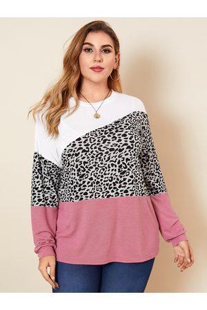 YOINS Plus Size Crew Neck Leopard Long Sleeves Sweater