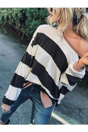 YOINS Stripe One Shoulder Long Sleeves Tee