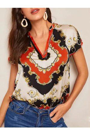 YOINS Scarf Print V-neck Short Sleeves Blouse