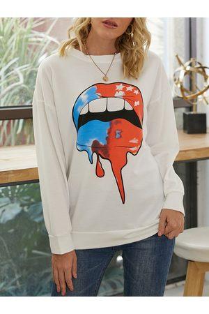 YOINS White Lip Print Long Sleeves Sweatshirt