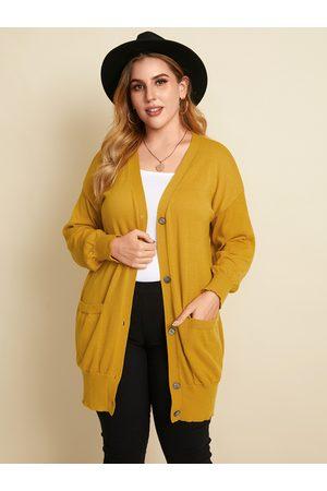 YOINS Plus Size Pocket Design Button Design Long Sleeves Cardigan