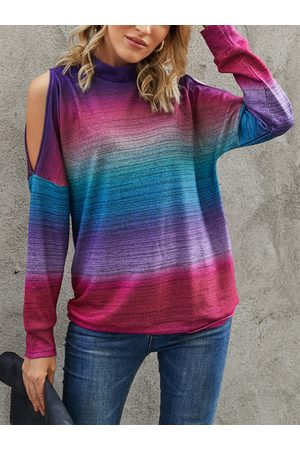 YOINS Fantasy Color Cold Shoulder Long Sleeves Sweatshirt
