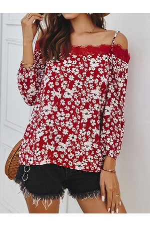 YOINS Lace Print Off The Shoulder Long Sleeves Top