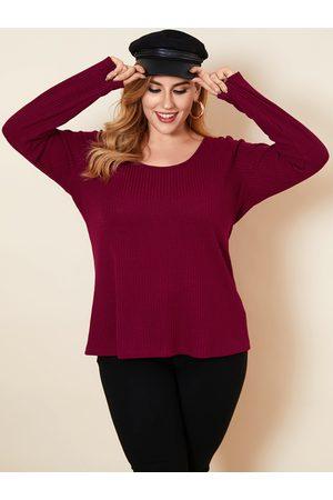 YOINS Plus Size Scoop Neck Criss-cross Long Sleeves Knitwear