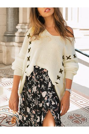 YOINS Criss-cross V-neck Long Sleeves Sweater
