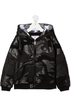 Philipp Plein Camouflage-print zip-up hoodie