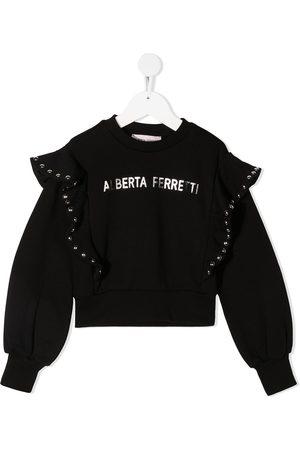 Alberta Ferretti Ruffled shoulder cotton sweatshirt