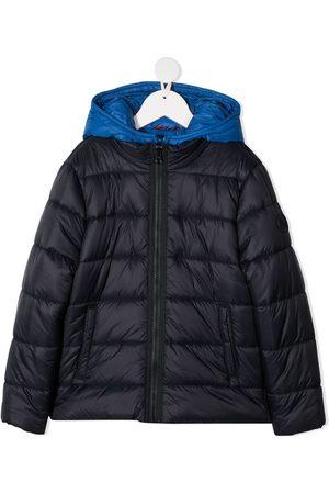 FAY KIDS Boys Hoodies - Two-tone hooded zip-up jacket