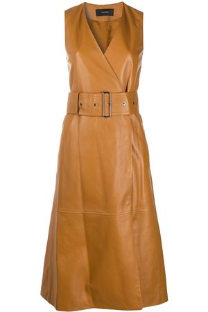 Joseph Leather belted wrap dress