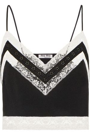 Miu Miu Cropped lace-trim cami