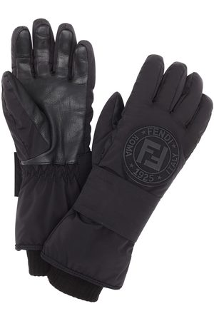 Fendi Logo patch snow gloves
