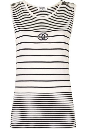 CHANEL CC striped sleeveless knitted top